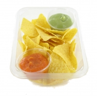 Spicy tomato dip, avocado dip and tortilla chips. 190 g