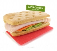 GLUTEN-FREE - Focaccia with turkey & avocado